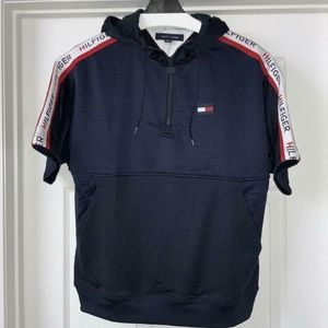RARE TOMMY HILFIGER SPORT SPELLOUT TAPE HOODED TOP